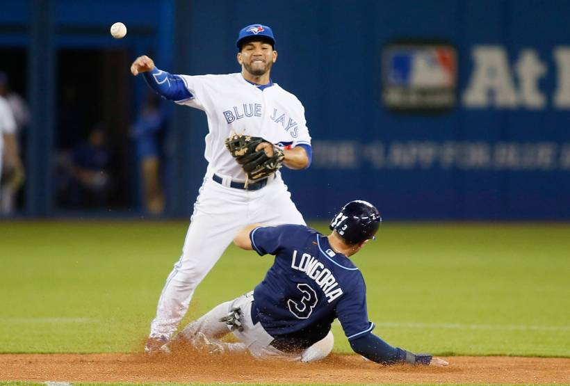 Apr 14, 2015; Toronto, Ontario, CAN; Tampa Bay Rays third baseman Evan Longoria (3) breaks up a double play attempt by Toronto Blue Jays second baseman Devon Travis (29) in the sixth inning at the Rogers Centre. Mandatory Credit: John E. Sokolowski-USA TODAY Sports